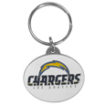 Oval Carved Metal Key Chain