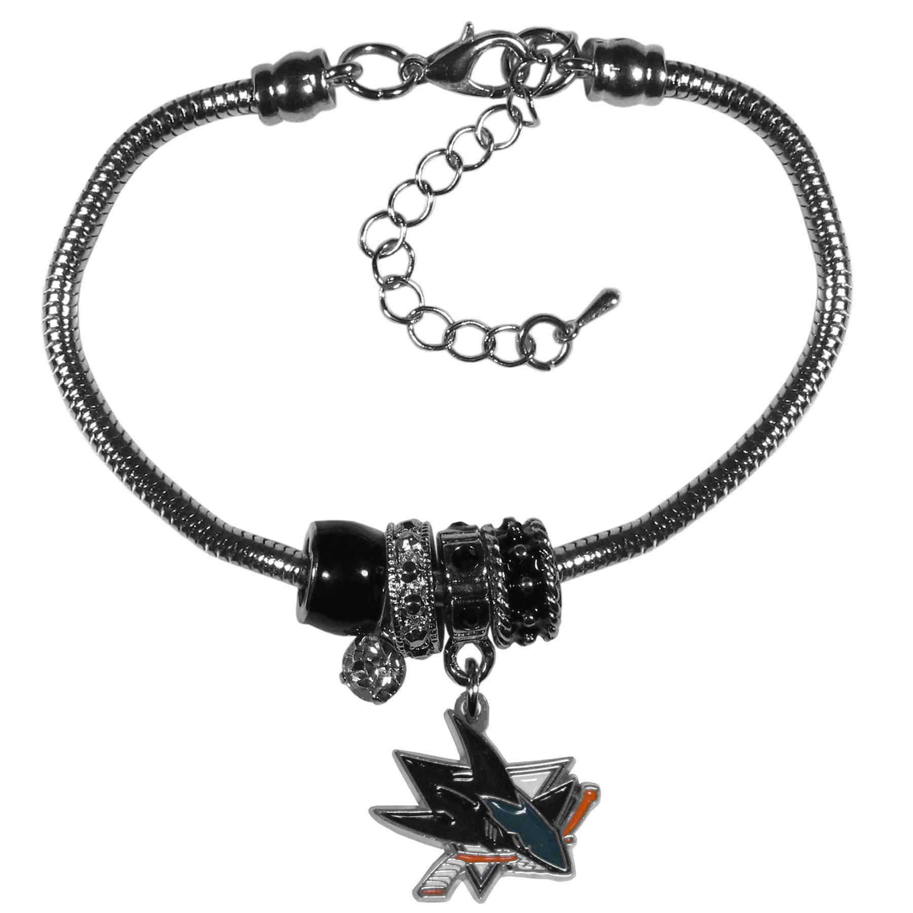 San Jose Sharks® Euro Bead Bracelet - We have combined the wildly popular Euro style beads with your favorite team to create our  San Jose Sharks® bead bracelet. The 7.5 inch snake chain with 2 inch extender features 4 Euro beads with enameled team colors and rhinestone accents with a high polish, nickel free charm and rhinestone charm. Perfect way to show off your team pride.
