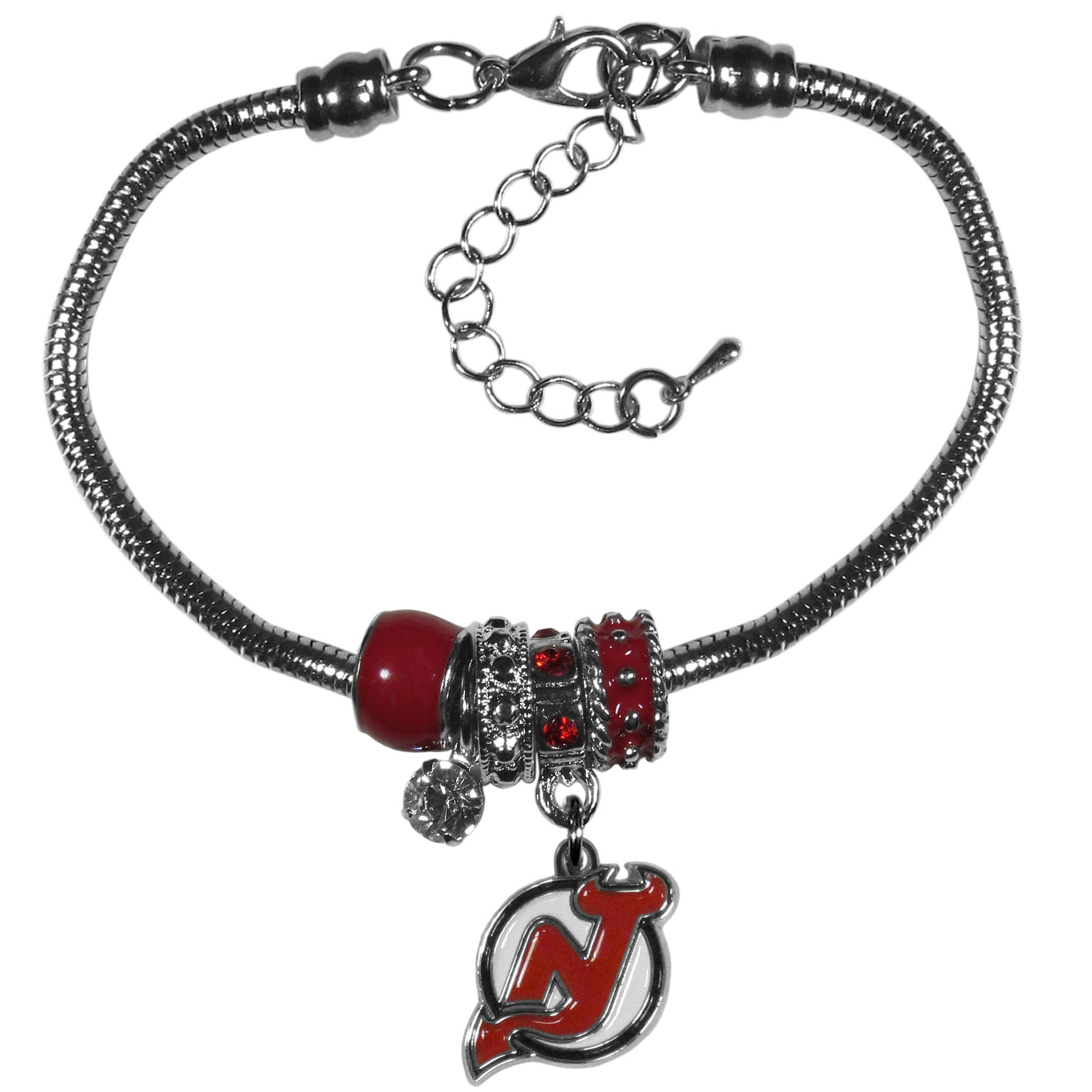 New Jersey Devils® Euro Bead Bracelet - We have combined the wildly popular Euro style beads with your favorite team to create our  New Jersey Devils® bead bracelet. The 7.5 inch snake chain with 2 inch extender features 4 Euro beads with enameled team colors and rhinestone accents with a high polish, nickel free charm and rhinestone charm. Perfect way to show off your team pride.