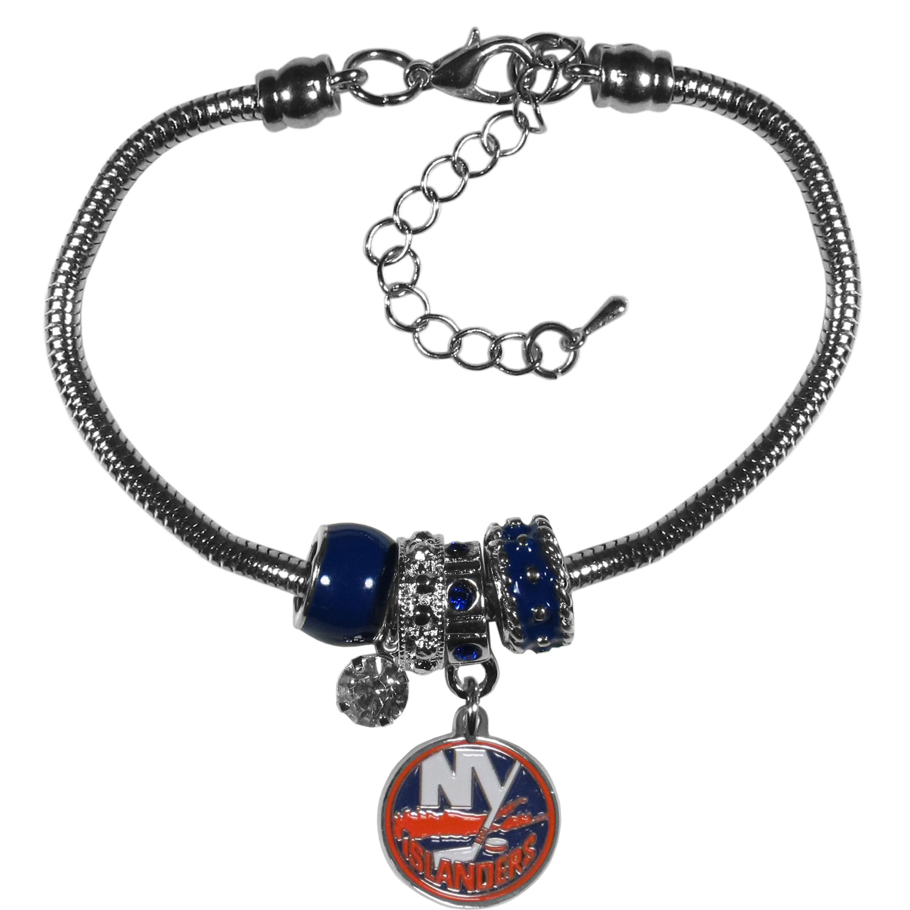 New York Islanders® Euro Bead Bracelet - We have combined the wildly popular Euro style beads with your favorite team to create our  New York Islanders® bead bracelet. The 7.5 inch snake chain with 2 inch extender features 4 Euro beads with enameled team colors and rhinestone accents with a high polish, nickel free charm and rhinestone charm. Perfect way to show off your team pride.