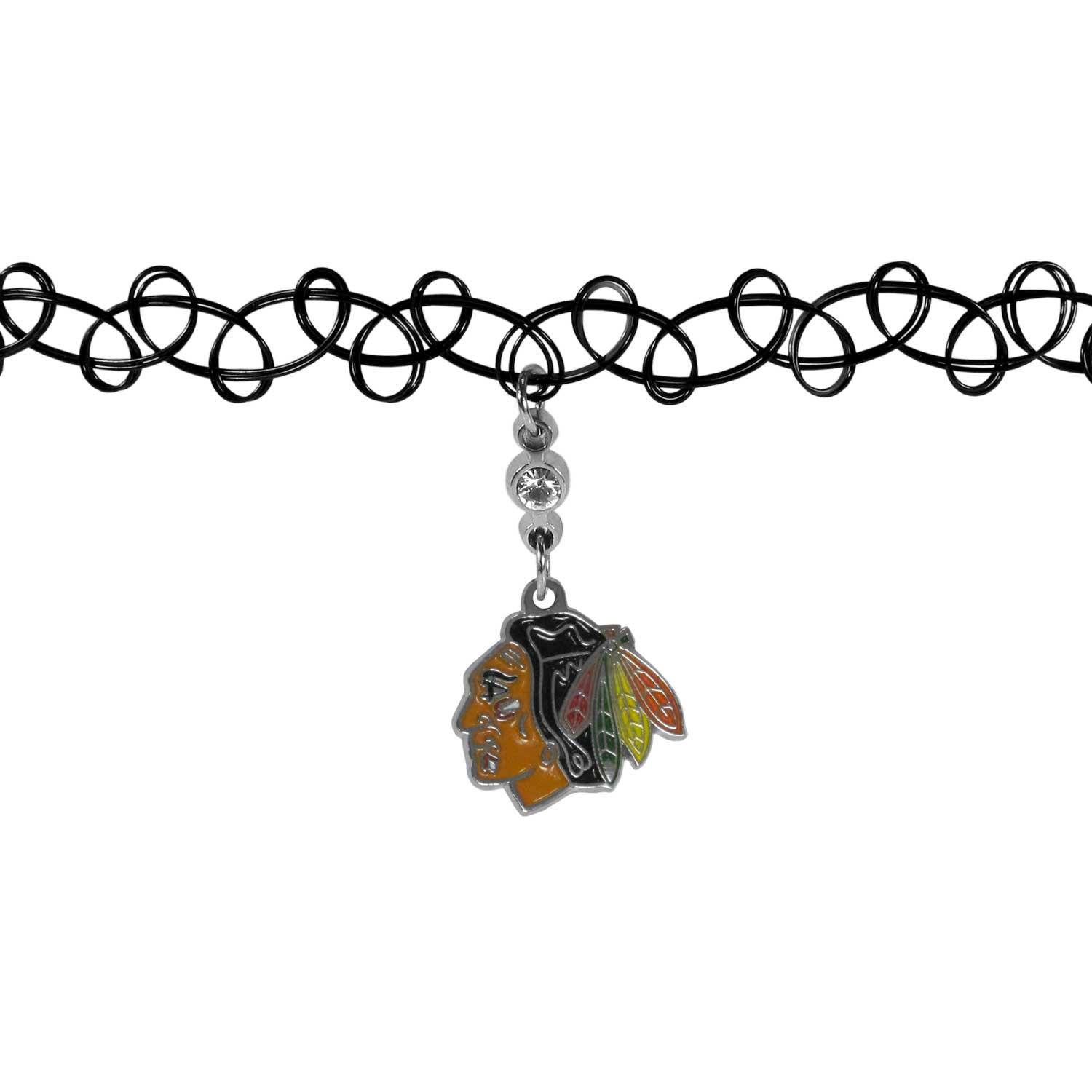Chicago Blackhawks® Knotted Choker - This retro, knotted choker is a cool and unique piece of fan jewelry. The tattoo style choker features a high polish Chicago Blackhawks® charm with rhinestone accents.