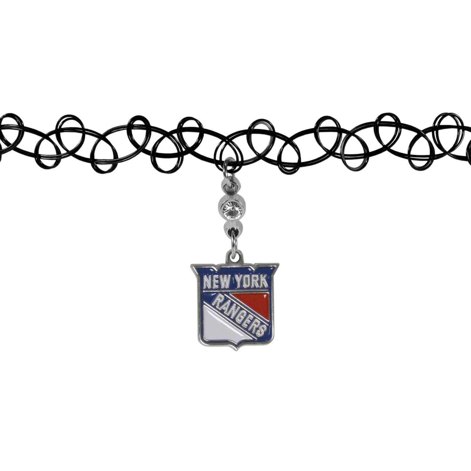 New York Rangers® Knotted Choker - This retro, knotted choker is a cool and unique piece of fan jewelry. The tattoo style choker features a high polish New York Rangers® charm with rhinestone accents.