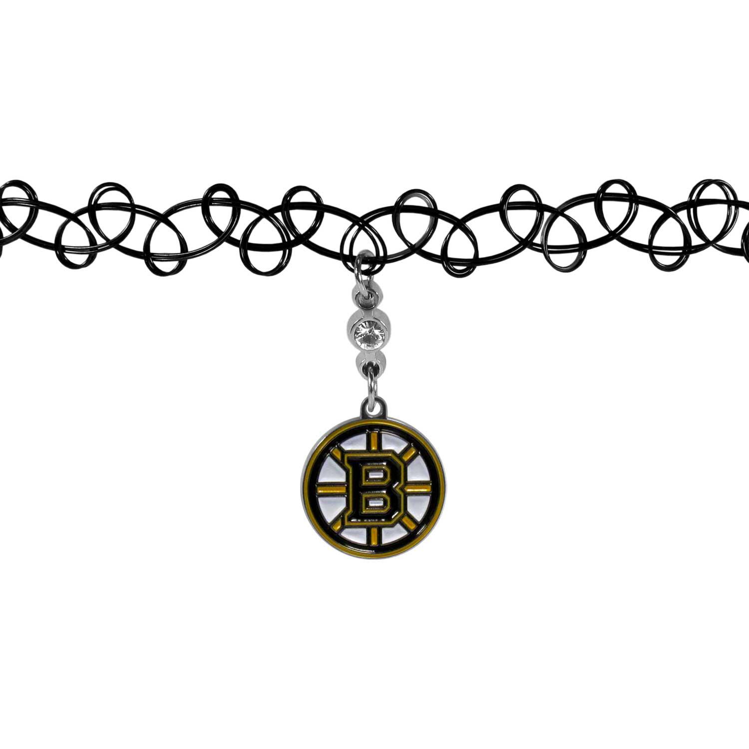 Boston Bruins® Knotted Choker - This retro, knotted choker is a cool and unique piece of fan jewelry. The tattoo style choker features a high polish Boston Bruins® charm with rhinestone accents.