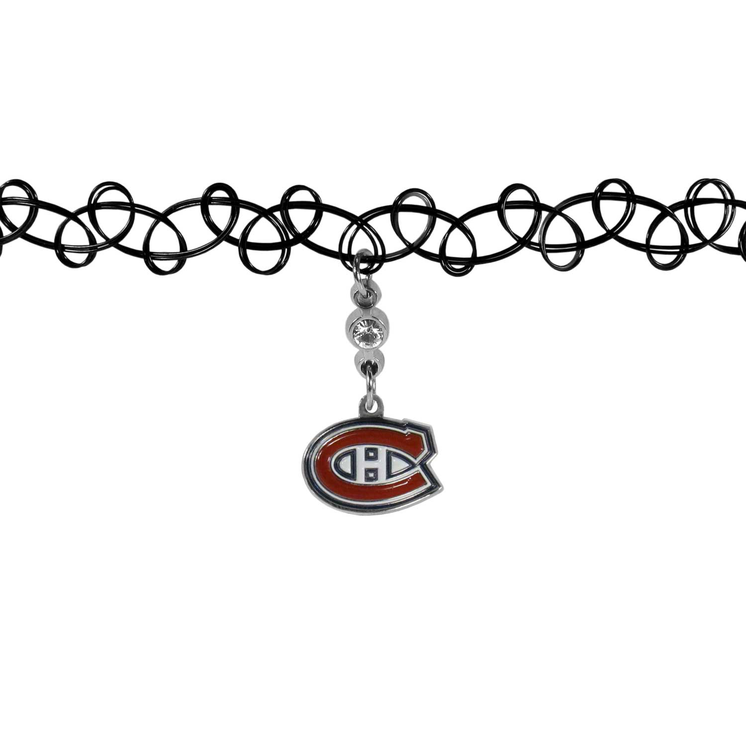Montreal Canadiens® Knotted Choker - This retro, knotted choker is a cool and unique piece of fan jewelry. The tattoo style choker features a high polish Montreal Canadiens® charm with rhinestone accents.