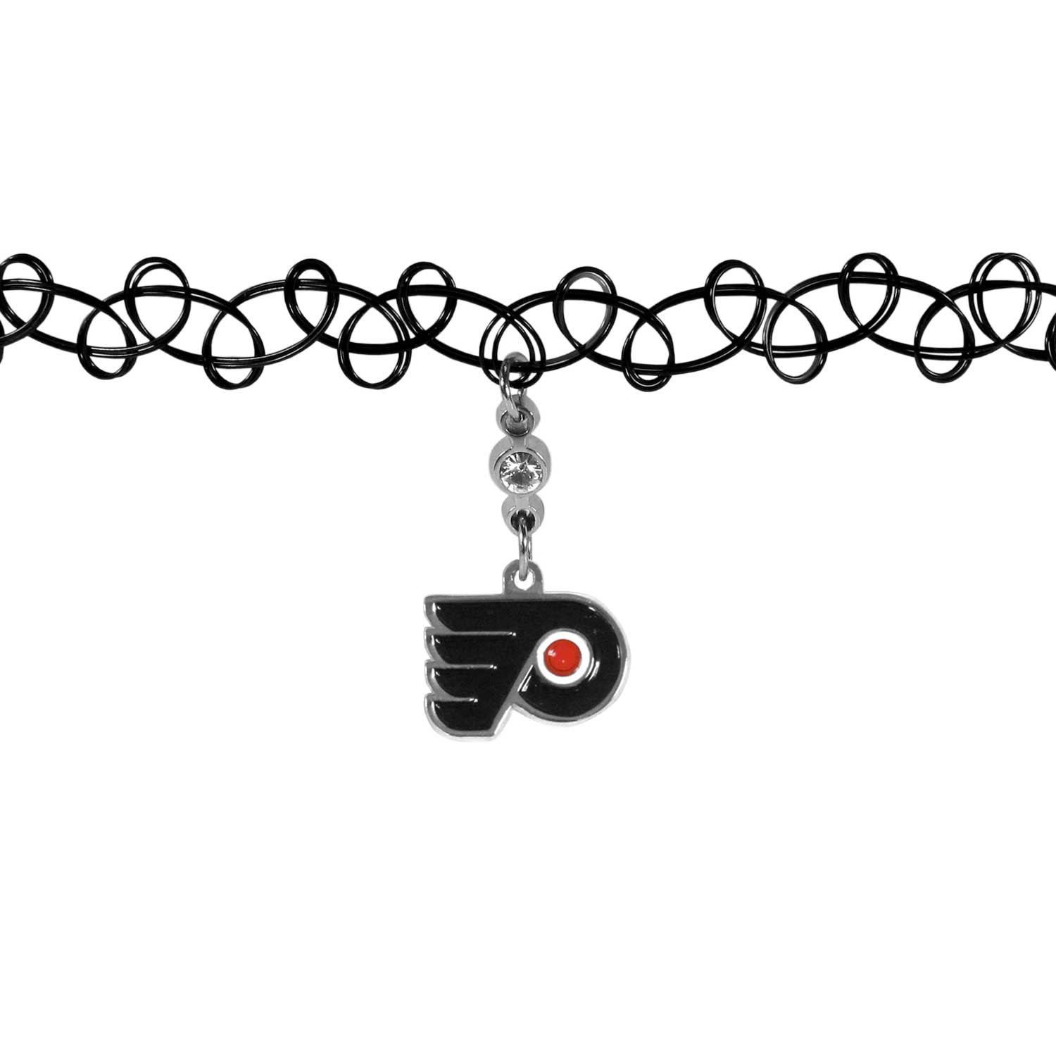 Philadelphia Flyers® Knotted Choker - This retro, knotted choker is a cool and unique piece of fan jewelry. The tattoo style choker features a high polish Philadelphia Flyers® charm with rhinestone accents.