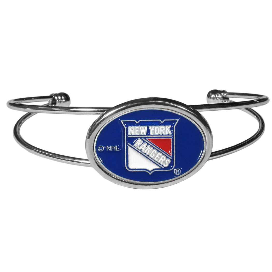 New York Rangers® Cuff Bracelet - These comfortable and fashionable double-bar cuff bracelets feature a 1 inch metal New York Rangers® inset logo with enameled detail.