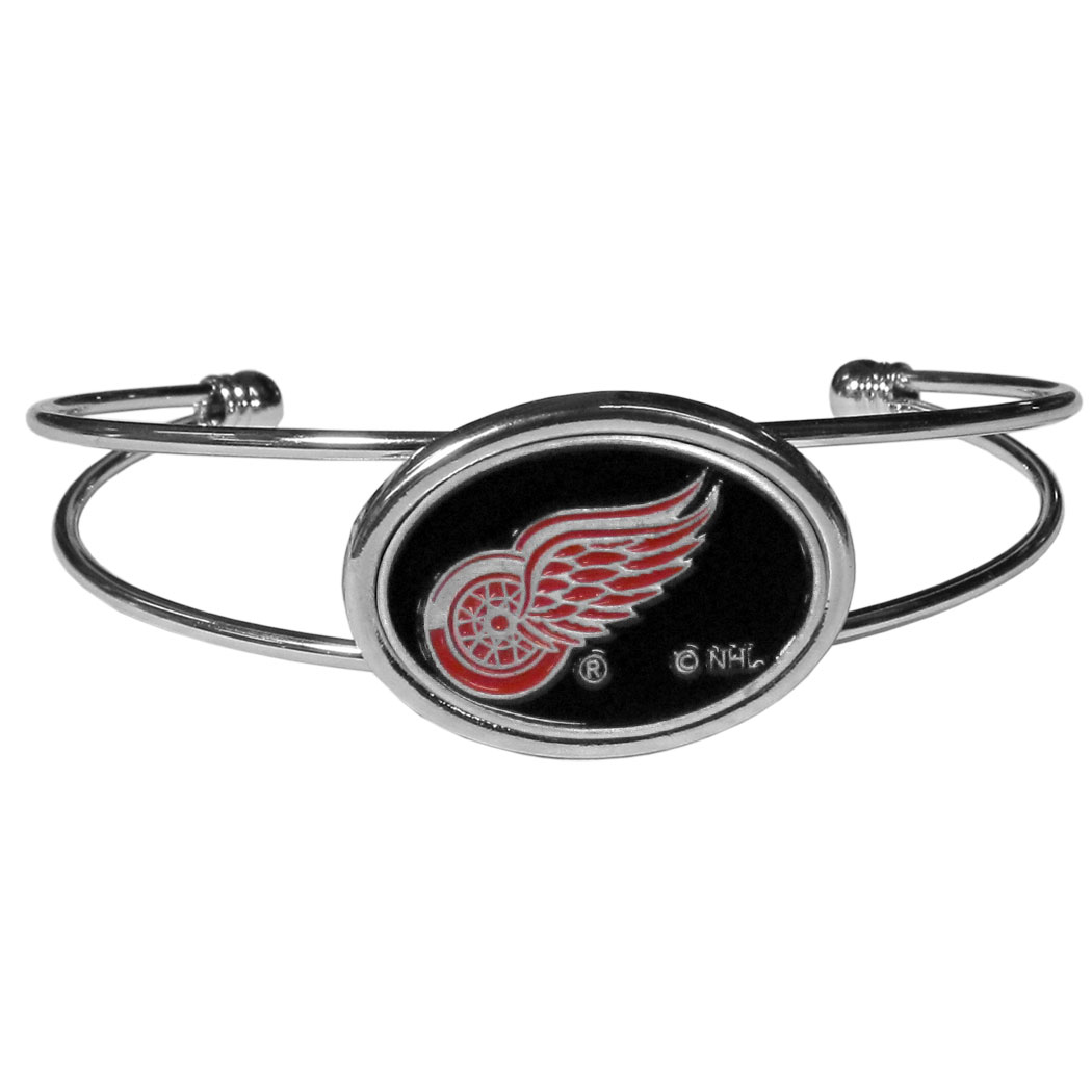 Detroit Red Wings® Cuff Bracelet - These comfortable and fashionable double-bar cuff bracelets feature a 1 inch metal Detroit Red Wings® inset logo with enameled detail.
