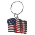 American Flag Metal Key Chain with Enameled Details