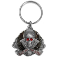 Bad To The Bone Motorcyle Metal Key Chain with Enameled Details