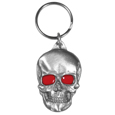 Skull with Red Eyes Metal Key Chain with Enameled Details