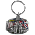 Flags Metal Key Chain with Enameled Details