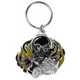 Flaming Skull Metal Key Chain with Enameled Details